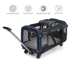 Pet Carrier Dog Cat with Wheels Rolling Travel Bag Comfort F