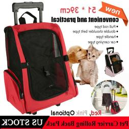 Pet Luggage Bag Dog Cat Travel Backpack Carrier w/Rolling Tr