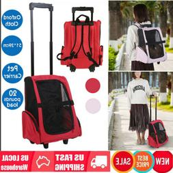 Pet Luggage Box Carrier Cat Dog Backpack Rolling Wheel w/Rem