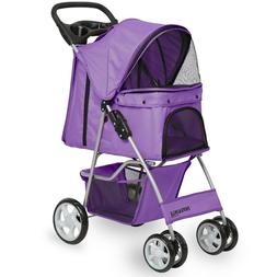 OxGord Pet Stroller Cat / Dog 4 Wheel Easy Walk Roll Travel