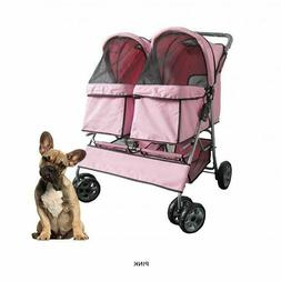 Oxgord Pet Stroller Cat Dog 4-Wheel DOUBLE TWIN Walk Easy Fo
