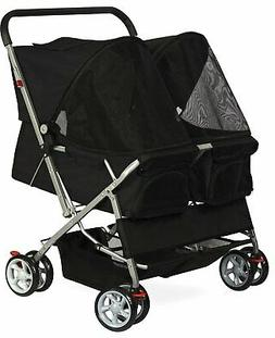 Pet Stroller Cat Dog 4-Wheel DOUBLE TWIN Walk Travel Folding