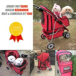 Pet Stroller Puppy Travel Carrier Cat Dog Kennel with 3 Whee