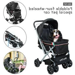 Pet Stroller Four Wheel for Cat and Dog Foldable Carrier Str