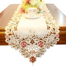 Pink flower embroidered hemstitch easter table runner tapest