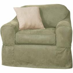 Maytex Piped Suede 2-Piece Chair Furniture Cover / Slipcover