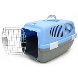 YML Small Plastic Carrier Crate for Small Animals, Blue