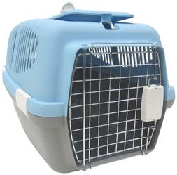 YML Large Plastic Carrier Crate for Small Animals, Blue