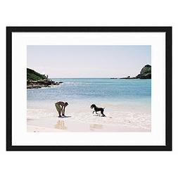 Tcrying Play on The Beach - Art Print Wall Black Wood Grain