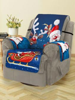 Polyester Christmas Santa Claus Elk Pattern Couch Cover Love