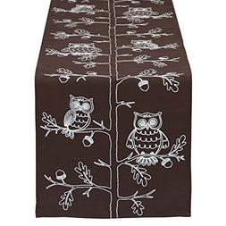 "DII 14x70"" Polyester Table Runner, Embroidered Owls - Perfec"