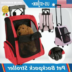 Portable Pet Luggage Box Carrier Cat Dog Backpack Rolling Wh
