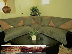 OctoRose Quilted Micro Suede Sage Green Sectional Sofa Cover