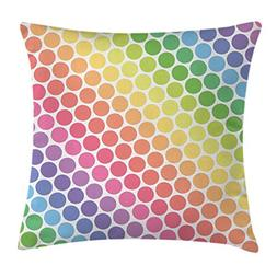 Rainbow Throw Pillow Cushion Cover by Ambesonne, Polka Dots