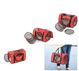 Red Large Cat Carrier Travel Bag W/ Tunnel - Soft Pet Carrie