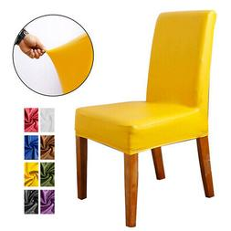 Removable Leather Chair Seat Covers Stretch Wedding Banquet