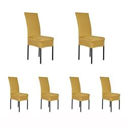 6 x Removable Short Stretch Spandex Dining Chair Slipcovers
