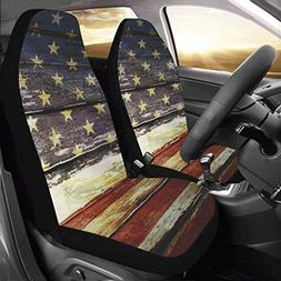 Artsadd Retro American Flag Fabric Car Seat Covers  Best Aut