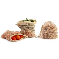 Reusable mesh produce bags - Set of 4- 100% Organic GOTS cer