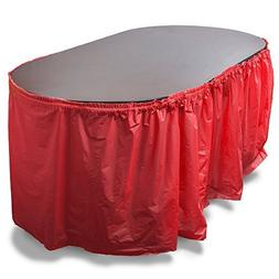 14' Reusable Plastic Table Skirt, Extends to over 20'  by Br