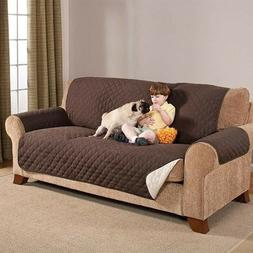 Reversible Furniture Protector Quilted Brown Slipcover Sofa