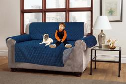 Reversible Furniture Protector Quilted Gray Navy Slipcover S