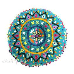 "EYES OF INDIA - 24"" Teal Blue Green Round Decorative Floor C"