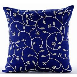Royal Blue Throw Pillows Cover for Couch, Beaded Leaves Flor