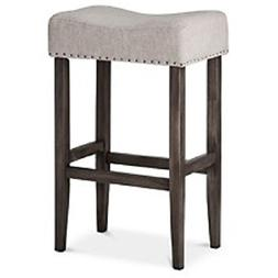"Threshold Rumford Saddle 29"" Barstool, Grey Linen"