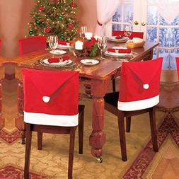 1pcs Santa Red Hat Chair Covers Christmas Decorations Dinner