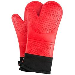 NoCry Silicone Oven Mitts with Secure-Grip Design and Soft,