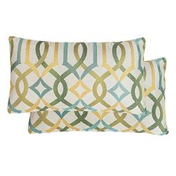 Pack of 2 SimpleDecor Jacquard Geometric Links Accent Decora