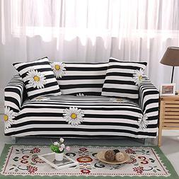 yazi Sofa Slipcover Black White Strips Design Contemporary S