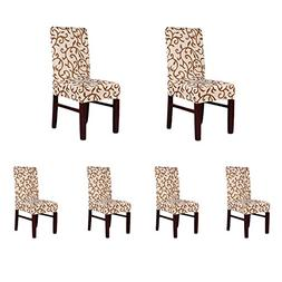 Soulfeel 6 x Soft Fit Stretch Short Dining Room Chair Covers