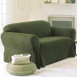 Soft Micro Suede Solid SAGE GREEN Loveseat Slipcover - 1 Pie