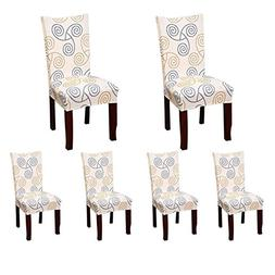6 X Soft Spandex Fit Stretch Short Dining Room Chair Covers