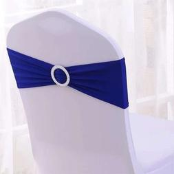 100PCS Stretch Wedding Chair Bands With Buckle Slider Sashes