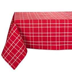 DII Farmhouse Plaid Square Tablecloth, 100% Cotton with 1/2""