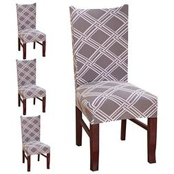 SHZONS 4pcs Stretch Removable Washable Short Dining Chair Pr