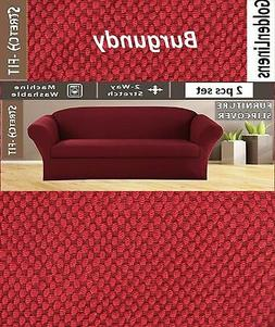 2 pcs Stretch Slipcovers Set, Couch/ Sofa And Loveseat Cover