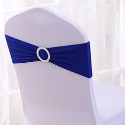 50PCS Spandex Chair Sashes Bows Elastic Chair Bands with Buc