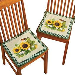 Sunflowers And Birds 2 Piece Chair Seat Cushion Set with Sli