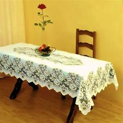 "SUPERB CREAM HEAVY LACE TABLE CLOTH TABLE TOPPER 70"" X 108"""