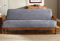 Sure Fit Soft Suede Woven Futon Cover, Smoke Blue