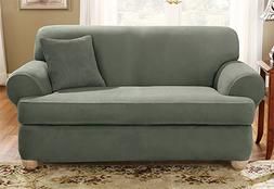 Sure Fit Stretch Suede Separate Seat T-Cushion Loveseat Slip