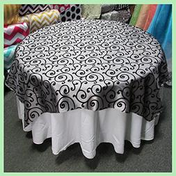 Table Overlay 58X58 inches Square Swirl Flocking Taffeta, Gr