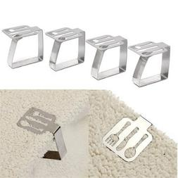 4Pcs Tableware Shape Stainless Steel Tablecloth Clips Table