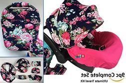 9pc Baby Girl Ultimate Set of Infant Car Seat Cover Canopy H