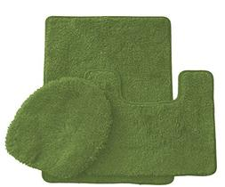 3 Piece Ultra Spa Solid Colors Bath Rug Set Made with 100% P