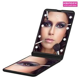WOOPHEN Ultra-thin Led Lighted Compact Travel Makeup Mirror